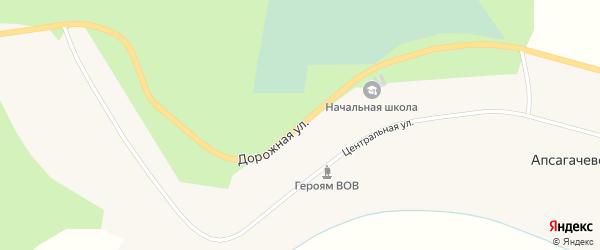 Дорожная улица на карте села Апсагачево Томской области с номерами домов