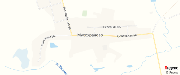 Карта поселка Мусохраново в Кемеровской области с улицами и номерами домов