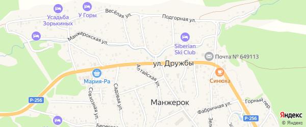 Улица Дружбы на карте села Манжерка Алтая с номерами домов