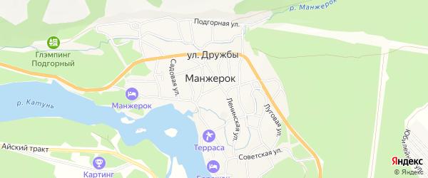 Карта села Манжерка в Алтае с улицами и номерами домов