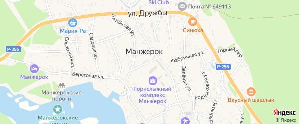 Прохладный переулок на карте села Манжерка Алтая с номерами домов