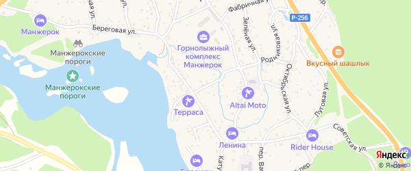 Школьный переулок на карте села Манжерка Алтая с номерами домов