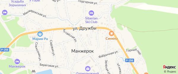Новый переулок на карте села Манжерка Алтая с номерами домов