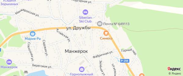 Болотный переулок на карте села Манжерка Алтая с номерами домов