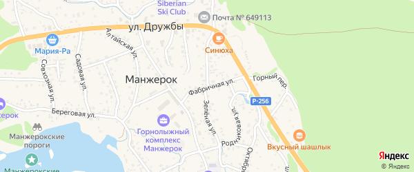 Зеленая улица на карте села Манжерка Алтая с номерами домов