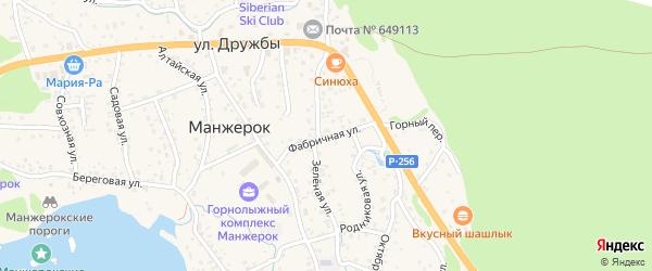Фабричная улица на карте села Манжерка Алтая с номерами домов