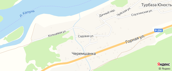 Садовая улица на карте поселка Черемшанки Алтая с номерами домов