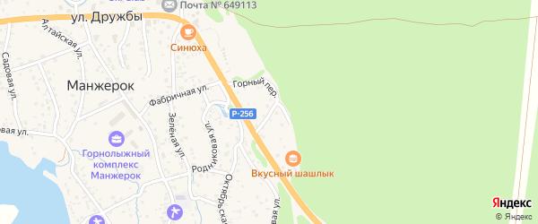 Горный переулок на карте села Манжерка Алтая с номерами домов