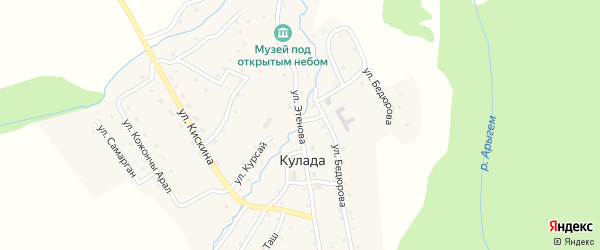 Улица С.Этенова на карте села Кулады Алтая с номерами домов