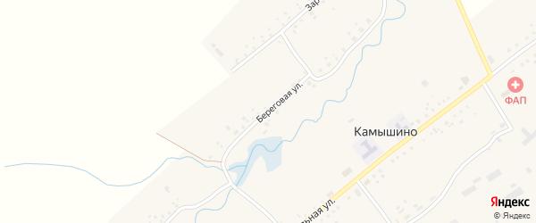 Береговая улица на карте села Камышино Кемеровской области с номерами домов