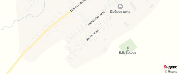 Зеленая улица на карте села Камышино Кемеровской области с номерами домов