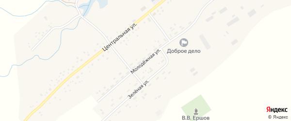 Молодежная улица на карте села Камышино Кемеровской области с номерами домов