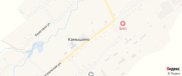 Центральная улица на карте села Камышино Кемеровской области с номерами домов
