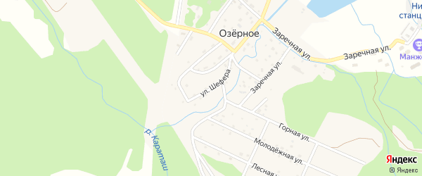 Улица С.Л.Шефера на карте Озерного села Алтая с номерами домов