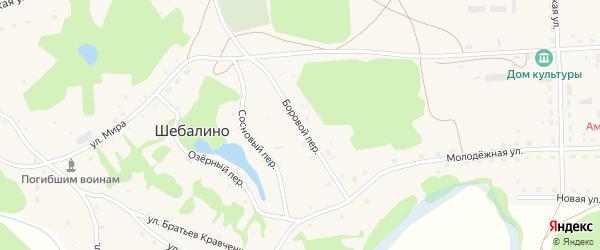 Боровой переулок на карте села Шебалино Алтайского края с номерами домов