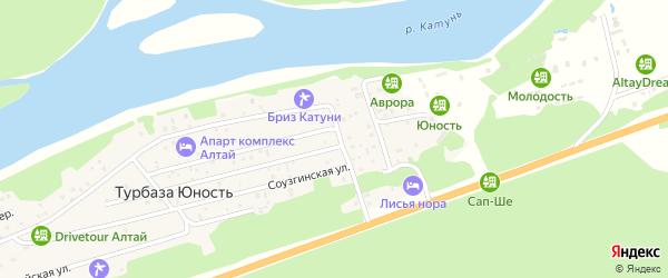 Туристическая улица на карте поселка т/б Юность Алтая с номерами домов