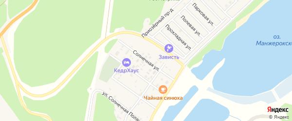 Солнечная улица на карте Озерного села с номерами домов