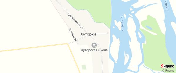 Карта села Хуторки в Алтайском крае с улицами и номерами домов