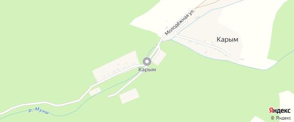 Молодежная улица на карте поселка Карыма Алтая с номерами домов