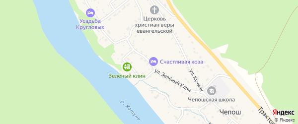 Улица Зеленый Клин на карте села Чепош Алтая с номерами домов