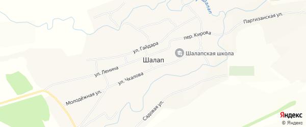 Карта села Шалапа в Алтайском крае с улицами и номерами домов