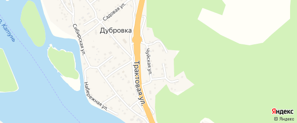 Чуйская улица на карте поселка Дубровки Алтая с номерами домов