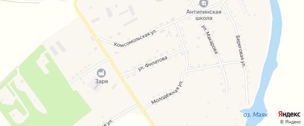 Улица Филатова на карте села Антипино с номерами домов