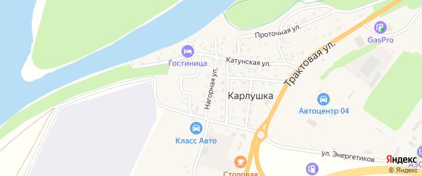 Нагорная улица на карте поселка Карлушки Алтая с номерами домов