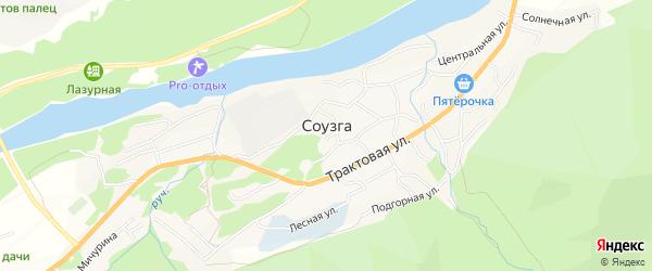 Карта села Соузги в Алтае с улицами и номерами домов