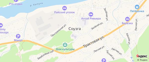Родниковая улица на карте села Соузги Алтая с номерами домов