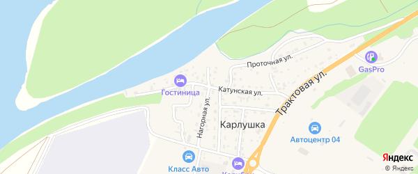 Катунская улица на карте поселка Карлушки Алтая с номерами домов