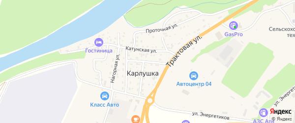 Солнечная улица на карте поселка Карлушки с номерами домов