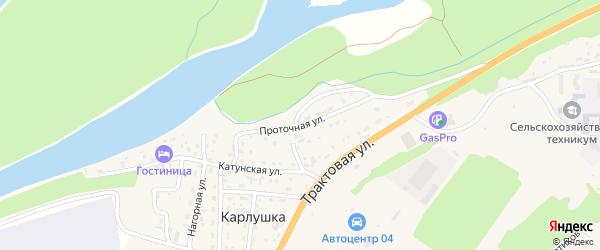 Проточная улица на карте поселка Карлушки Алтая с номерами домов