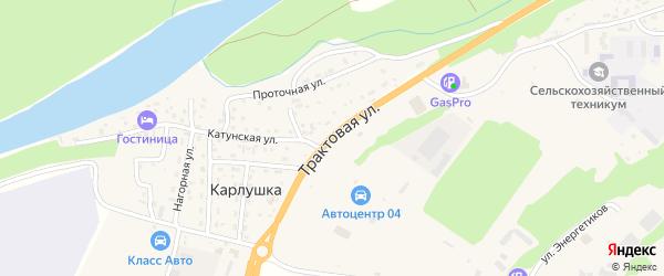 Трактовая улица на карте поселка Карлушки Алтая с номерами домов