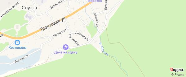 Подгорная улица на карте села Соузги Алтая с номерами домов