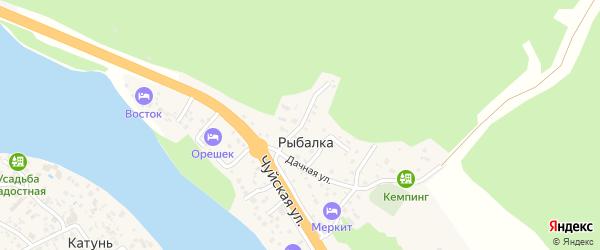 Каменный переулок на карте поселка Рыбалки Алтая с номерами домов