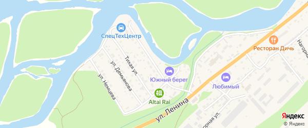 Прибрежная улица на карте села Майма Алтая с номерами домов