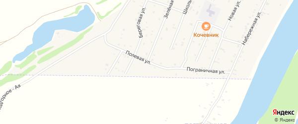 Полевая улица на карте Подгорного села Алтая с номерами домов