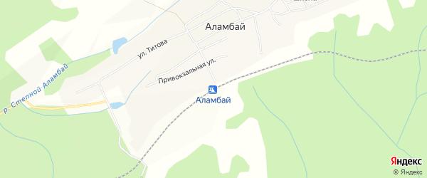 Карта станции Аламбая в Алтайском крае с улицами и номерами домов