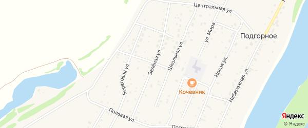 Зеленая улица на карте Подгорного села Алтая с номерами домов