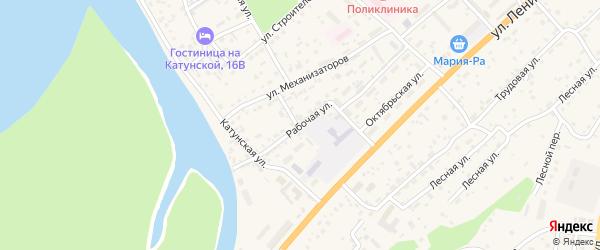 Рабочая улица на карте села Майма Алтая с номерами домов