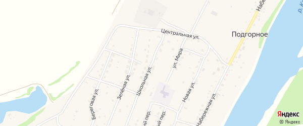 Школьная улица на карте Подгорного села Алтая с номерами домов