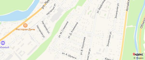 Улица Д.Климкина на карте села Майма Алтая с номерами домов