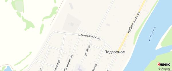 Центральная улица на карте Подгорного села Алтая с номерами домов