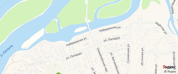 Набережная улица на карте села Майма Алтая с номерами домов