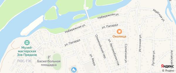 Улица Папардэ на карте села Майма Алтая с номерами домов