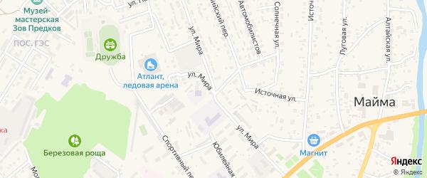 Улица Мира на карте села Майма Алтая с номерами домов