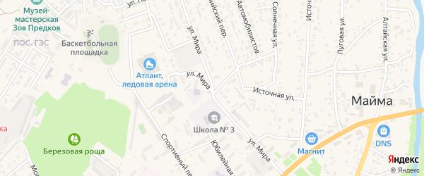 Улица Мира на карте села Майма с номерами домов