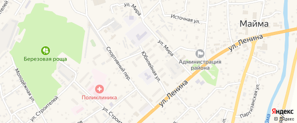 Юбилейная улица на карте села Майма Алтая с номерами домов