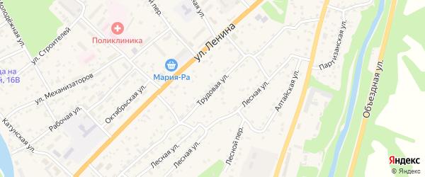 Трудовая улица на карте села Майма Алтая с номерами домов